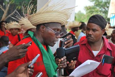 Haitian peasant leader speaks with the media June 4, 2010.