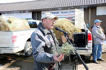Local farmer Fred Tait speaks at the Brandon rally