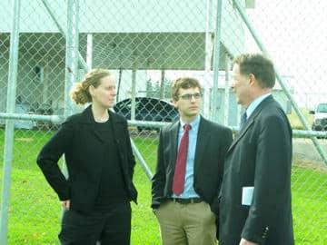 Lucy, Eric and Jaydee outside AquaBounty