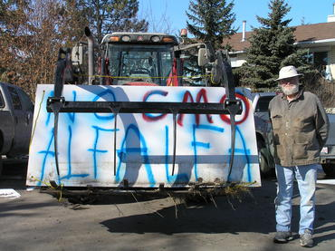 Paul Schneider drove his tractor to the Calgary rally!