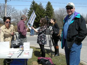 Petition-signing and media interviews in London Ontario