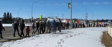 Red Deer marching