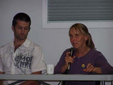 Sheila Dobie, apple grower speaks in Grand Forks