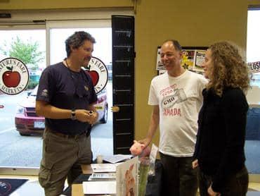 Winemaker David Avey visits the CBAN table at Langley Nature's Fare